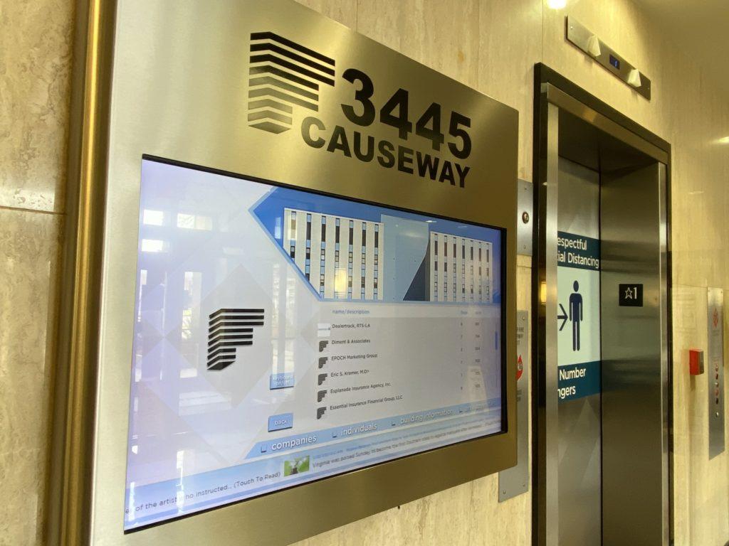 Elevator sign 3445 N Causeway - Kramer Psychiatric Services - Greater New Orleans Psychiatrist - Metairie, LA